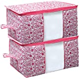 Kuber Industries Leaf Design Non Woven 2 Pieces Underbed Storage Bag, Storage Organiser, Blanket Cover (Pink)-CTKTC21202