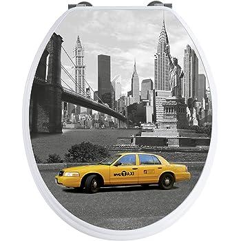 Wenko 20074100 Abattant New York Duroplast 3D Déscente Progressive Easy Close