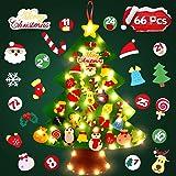 SOLEDI 66 Pezzi Addobbi Natalizi Albero di Natale in Feltro per Bambini con LED Natale Albero Perfetto per la Cameretta, Piat