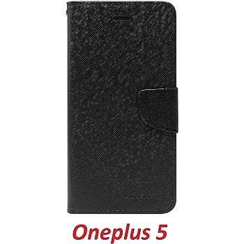 YuniKase OnePlus 5 / One plus 5 / One Plus Five Flip Cover Case Wallet Style ( Black )