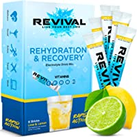 Revival Rapid Rehydration Electrolytes Powder - High Strength Vitamin C, B1, B3, B5, B12 Supplement Sachet Drink…