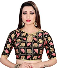 Spangel Fashion Round Neck Women's Ready Made Traditional Saree's Blouse
