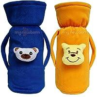 My NewBorn Baby Feeding Bottle Cover with Cartoon (Set of 2, Yellow/Blue)