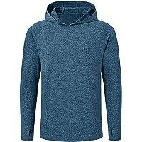 AjezMax Men's Long Sleeve Running Gym Top UPF 50+ Hooded Sweatshirt Outdoor Hiking Jogging Workout Sports T-Shirt