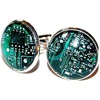 Computer Chip Kleine silberfarbene Handmade Manschettenknöpfe, 18mm, ein besonderes handgefertigtes Geschenk für den…