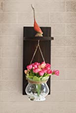 Tied Ribbons Wood Wall Shelf with Flower Vase and Artificial Flowers (11.99 cm x 0.99 cm x 37.01 cm, Multi)