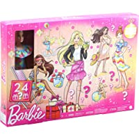 Barbie GYN37 - Adventskalender mit einer Barbie Puppe, 24 Überraschungen, Kleidung und Accessoires für Tag und Nacht, ab…
