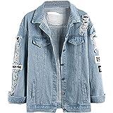 Wvsender Damen Casual Jeansjacke mit Patches Blouson Knopfverschluss Cut-Outs Denim Jacket Jeans-Jacke