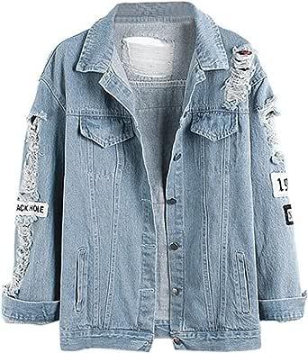 Xyhbava Giacca in Jeans Donna Giubbotto di Jeans Abbottonato Denim Casual con Stile Buco Denim Jacket Autunno Inverno