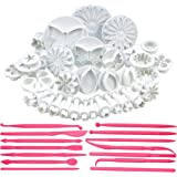 Bulfyss 47 Piece Fondant Cake Cookie Plunger Cutter Sugarcraft Flower Leaf Butterfly Heart Shape Decorating Mold DIY Tools