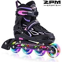 2PM SPORTS Brice Pattini in Linea Regolabili, Ruote Illumina LED, Divertente Inline Skates per Bambina e Bambino e Bambini - Verde/Rosa/Azzurro/Viola