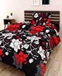AEROHAVEN 120 TC Microfibre Single 3D Luxury Bedsheet with 1 Pillow Cover - Floral, Black