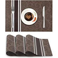 HOKIPO® Washable PVC Vinyl Heat Resistant Dinner Table Mats Set of 4-45x30 cm, Dark Brown (AR2767)