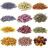 Aufisi Lot de 12 sachets de fleurs séchées naturelles pour savon, bougies, bijoux en résine, boules de bain, eau, décorations