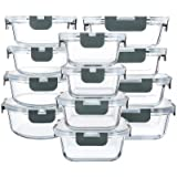 Récipient En Verre - Boîtes de Rangement Alimentaires en Verre - 24 pièces (12 récipients + 12 couvercles hermétiques) - sans