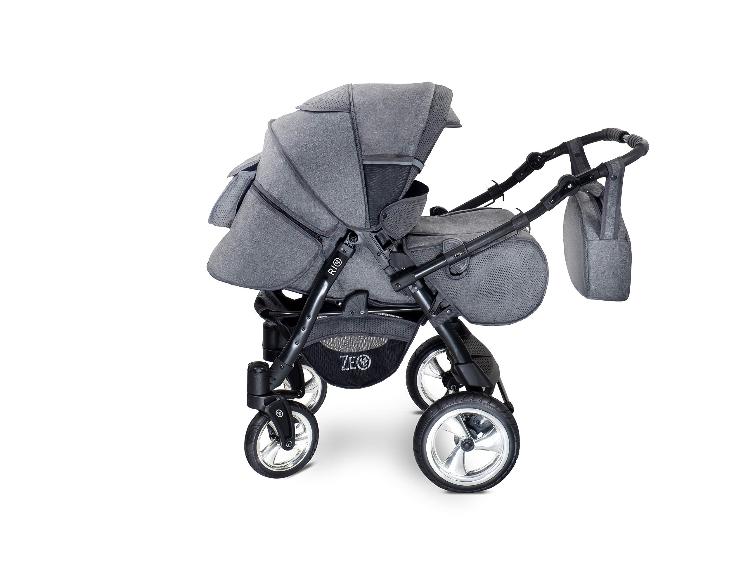 Baby Pram Zeo Rio 3in1 Set - All You Need! carrycot Gondola Buggy Pushchair car seat (R3) Zeo 3 in 1 combination stroller complete set, with reversible handle to the buggy, child car seat or baby carriage Has 360 ° swiveling wheels, two-fold suspension, four-stage backrest, five-position adjustable footrest and a five-point safety belt The stroller can be easily converted into other functions and easy to transport 3