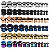 KUBOOZ 9 pairs acciaio inox singolo svasato kit tappi per le orecchie tunnel calibri barella piercing formato misto 14G…