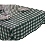 Vinylla - Tovaglia in PVC con motivo a scacchi, verde, facile da pulire, PVC, Round(Dia.160cm)
