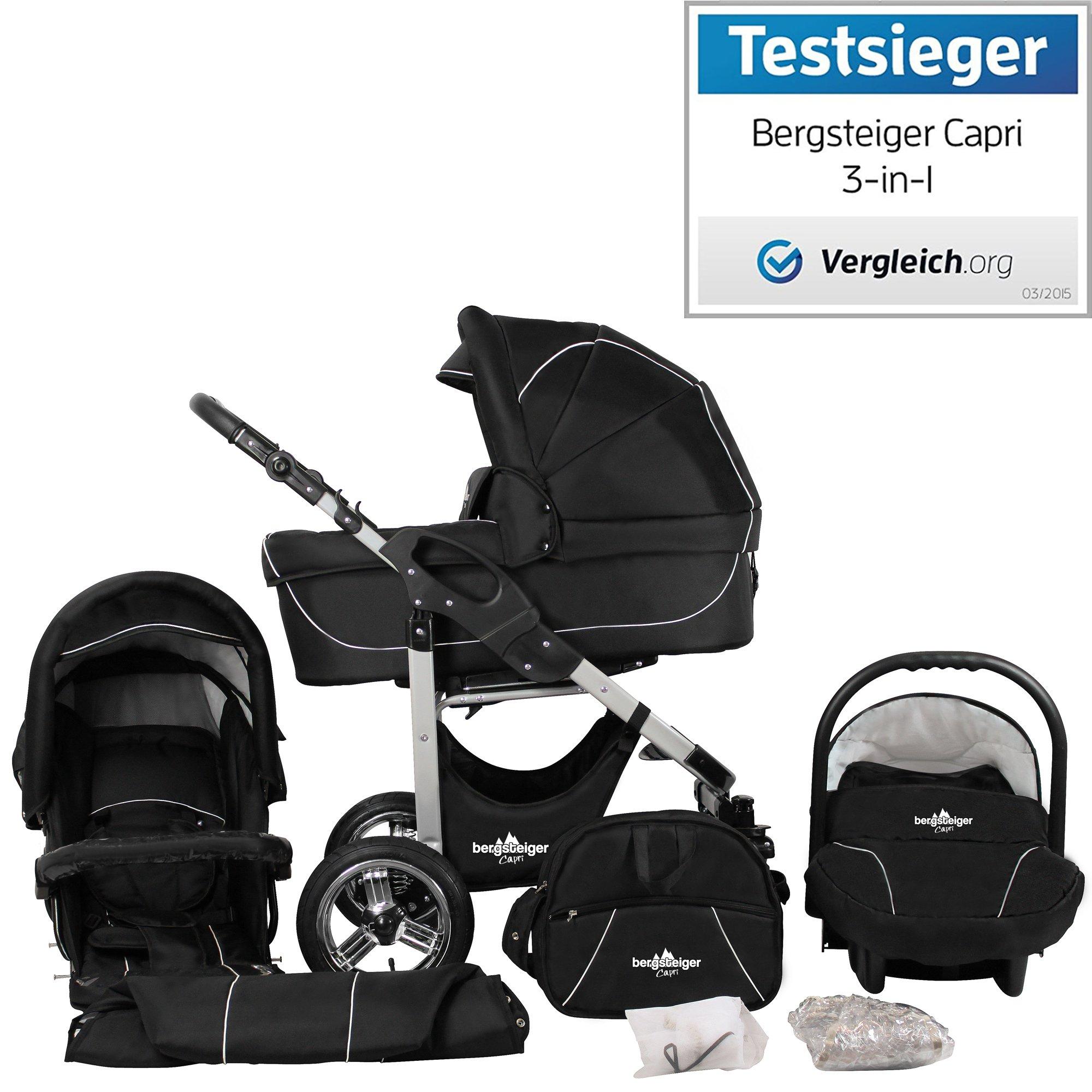 Bergsteiger Capri Black Edition Kinderwagen 3 in 1 Kombikinderwagen Megaset 10 teilig inkl. Babyschale, Babywanne, Sportwagen und Zubehör