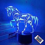 Nattlampa för barn hästillusion 3D nattlampa nattlampa 16 färger som ändras med fjärrkontroll bästa födelsedagspresenter för