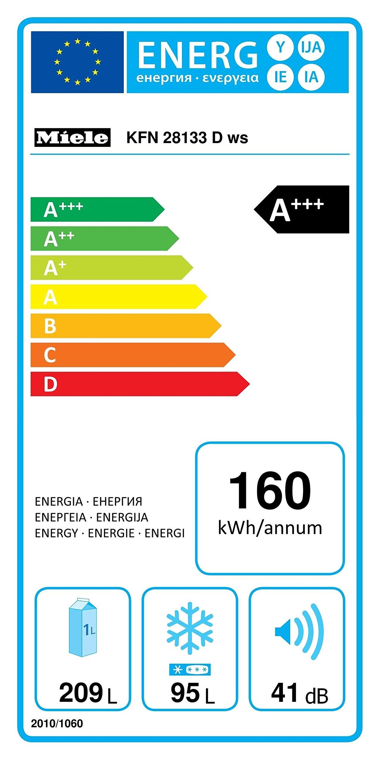 Miele KFN 28133 D ws Kühl-Gefrier-Kombination / Energieeffizienz A+++ / 186,1 cm / 160 kWh/Jahr / 209 Liter Kühlteil…