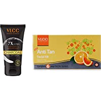 VLCC 7X Ultra Whitening and Brightening Charcoal Peel Off Mask, 100g And VLCC Anti Tan Single Facial Kit, 60g