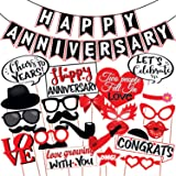 Wobbox Anniversary Photo Booth Party Props DIY Kit with Happy Anniversary Bunting Banner, Red & White , Anniversary Party Dec