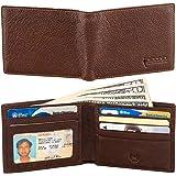 Picchio RFID Blocking Bi-Fold Vintage Slim Portafoglio Uomo con finestra ID e scomparti per carte di credito,Earthen,One Size