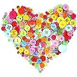 UCLEVER Bottoni Colorati Assortiti, Bottoni per Bambini Misti in Diverse Dimensioni e Colori per Lavorazione, Cucito, Decoraz