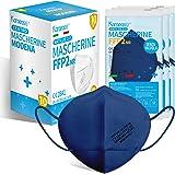 KARAEASY Mascherine ffp2 Blu Certificate Ce Made In Italy Confezione da 10 Pezzi PFE ≥95% Blu