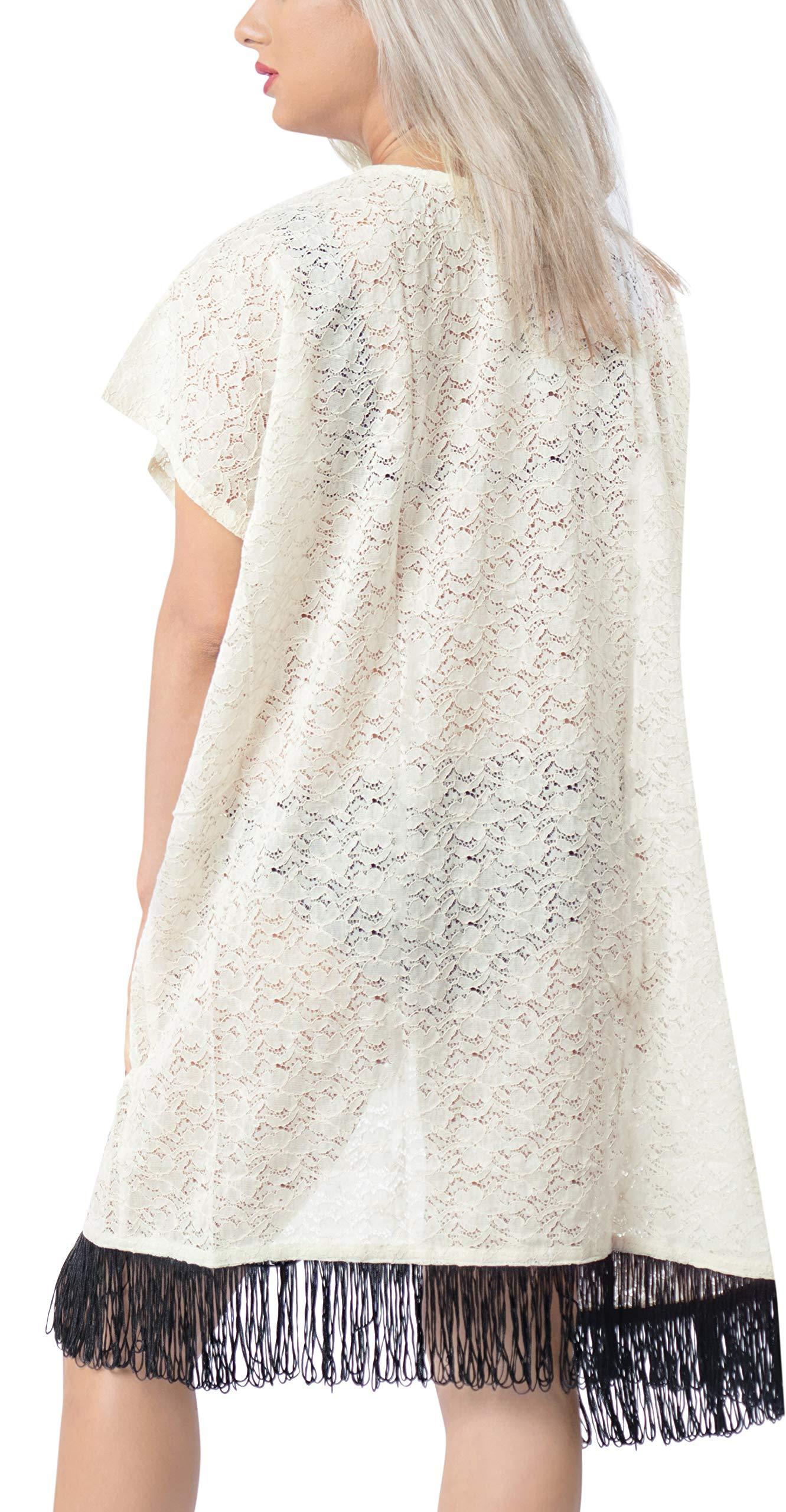 LA LEELA Copricostume Mare Cardigan Donna Taglie Forti- Vintage Chiffon Estivo Scialle Elegante Solido Kimono Vestito… 4 spesavip