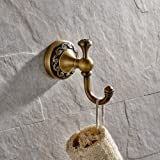 CASEWIND Wandhaak messing retro, handdoekhaak kledinghaak antiek, handdoekhouder vintage wandmontage nostalgie met boren voor