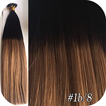 50 Strands Pre Bonded Ombre Dip Dye 18 20 100 Remy Human Hair Extensions Stick Tip Nail 1g 1b 8 Amazoncouk Beauty
