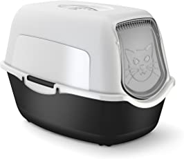Rotho Katzenklo mit Haube und Tür | einfach zu reinigende Katzentoilette für Hauskatzen mit geruchshemmendem Aktivkohlefilter | Kunststoff/Plastik (PP)| Größe (LxBxH) 55.5x40x38.7 cm