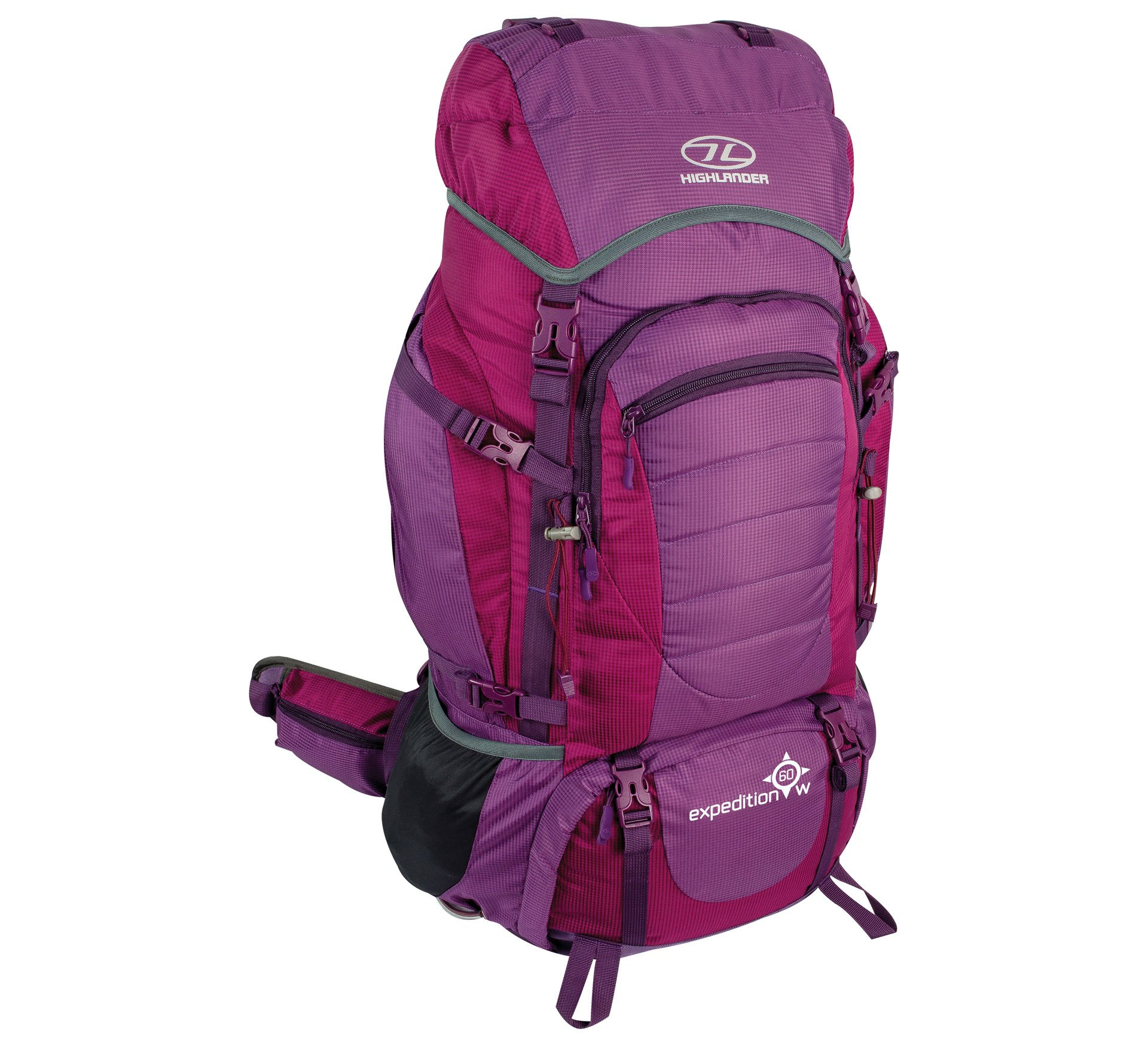 Highlander Expedition Rucksack ꟷ 60L, 65L & 85L Quality Backpack ꟷ Ideal for Hiking, Backpacking, DofE, Scouting Trips ꟷ Men & Women ꟷ Blue, Black, Red & Purple 1