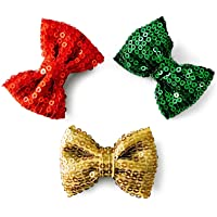 Knotty Ribbons Sequins Bows Hair Clips - Red Green & Golden