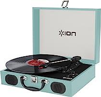 Ion  Transportabler Retro Koffer Plattenspieler mit eingebauten Stereo Lautsprechern - kann auch über AA Batterien betrieben werden, Blau
