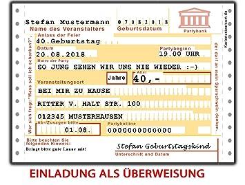 Einladungskarten Zum Geburtstag Als Überweisung 30 Stück + Namen U0026 Text  Lustig, Witzig U0026 Ausgefallen