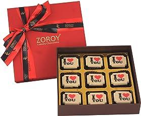 Zoroy Luxury Chocolate Valentines Day Love Gift Box Of 9 I Love You Chocolate - 95Gms