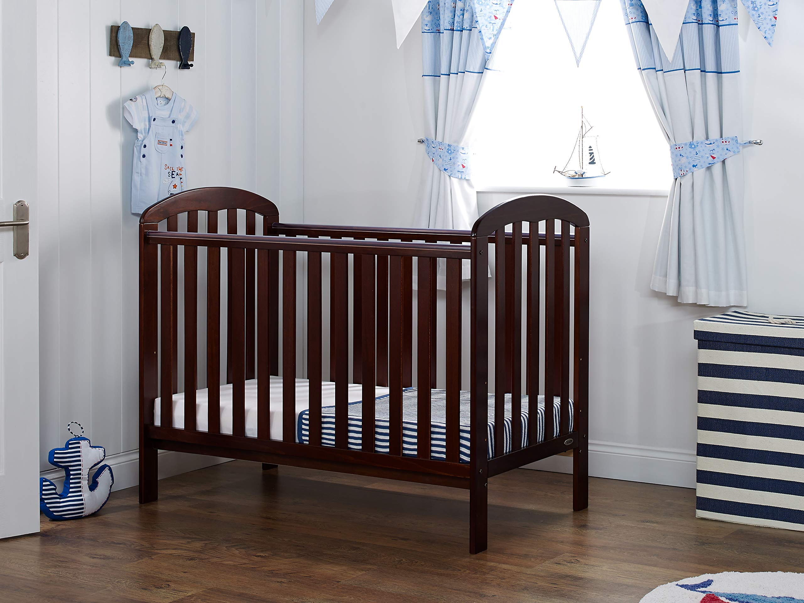 Obaby Lily Cot - Walnut Obaby Protective teething rails 3 position base height Requires mattress size 120 x 60cm 1