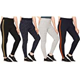 SHAUN Women Free Size (Waist Size-26-34 inch) Stretchable Jegging (Length 37-39 inch_Pack of 4)