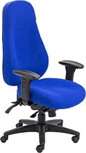 Office Hippo Professional 24 High Back Office Chair, 150 kg Weight Tolerance, Seat Slide, 2D Arms, Asynchro Mechanism, Ratchet Back, Fabric, Blue