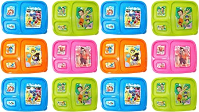 Kotak Sales Cartoon Print Lunchbox 3 Compartment with 2in1 Spoon Fork & Container Return Party Gifts for Kids Birthday Parties (Set of 12pcs)