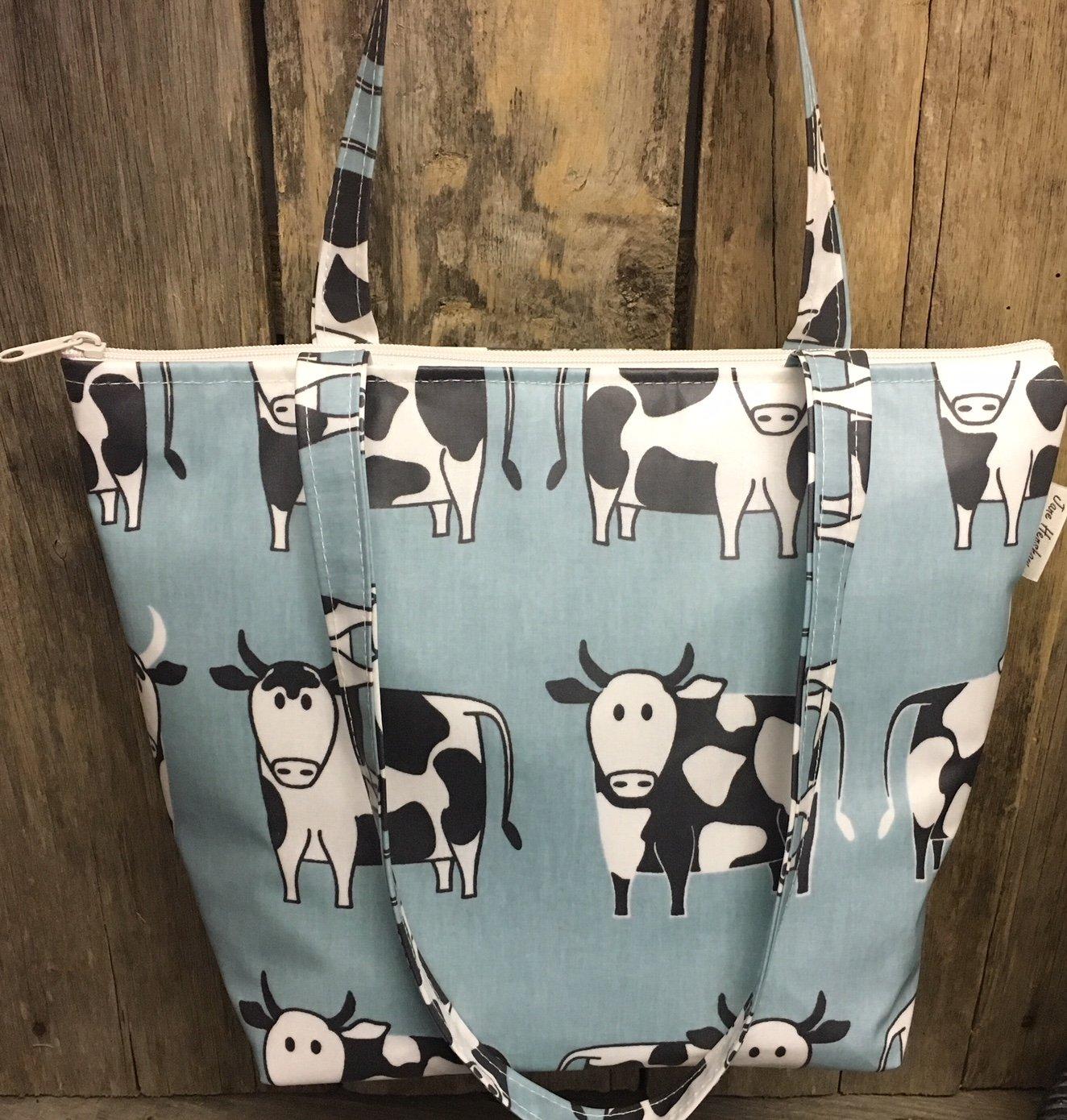 Tote bag,shopping bag,hand bag,book bag,school,bag,cows oilcloth - handmade-bags