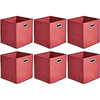 Amazon Basics Lot de 6 cubes de rangement pliables en tissu avec œillets ovales Rouge