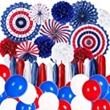4. Julio Patriótica fiesta decoración Kit rojo blanco azul bandera americana pancartas colgantes abanicos de papel globos pom