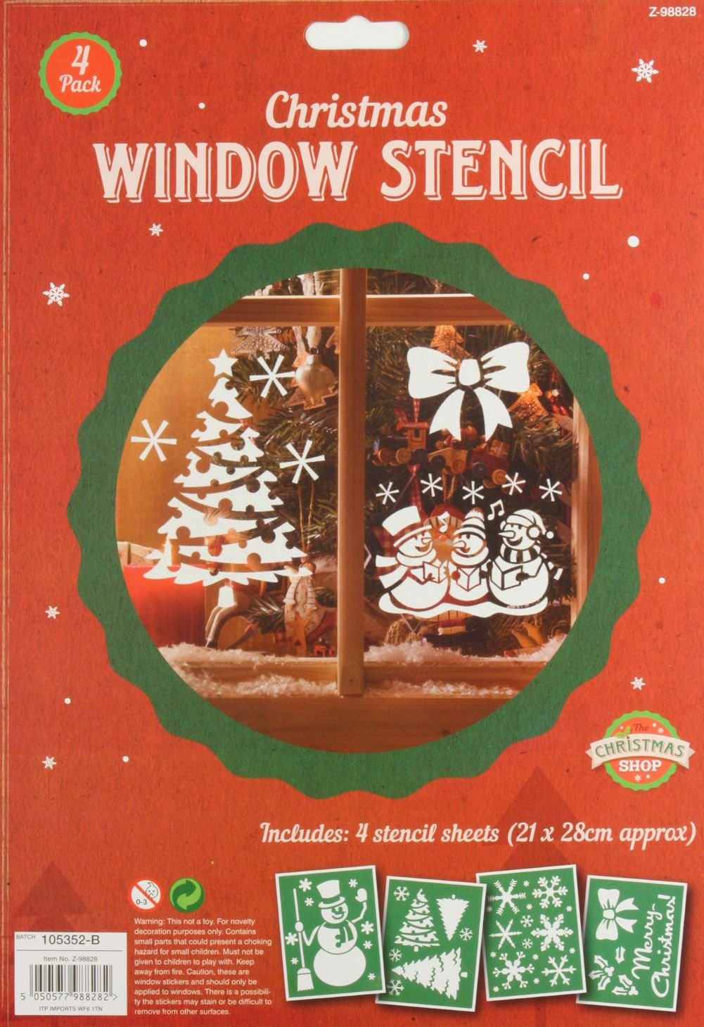 Christmas Sprays Uk.1 X Pack Of 4 Plastic Christmas Window Stencils Home Spray Snow Reuseable Xmas Uk