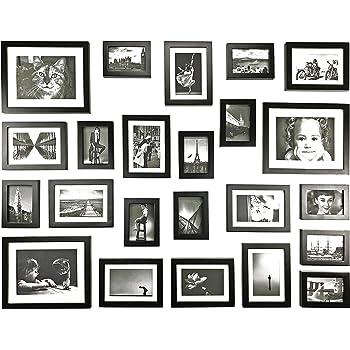 Amazon De Ray Chow 23er Schwarz Holz Bilderrahmen Wand Set