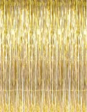 VFENG 3ft x 8ft Gold Metallic Tinsel Foil Fringe Curtains for Party Photo Backdrop Wedding Decorations (pack of 1)