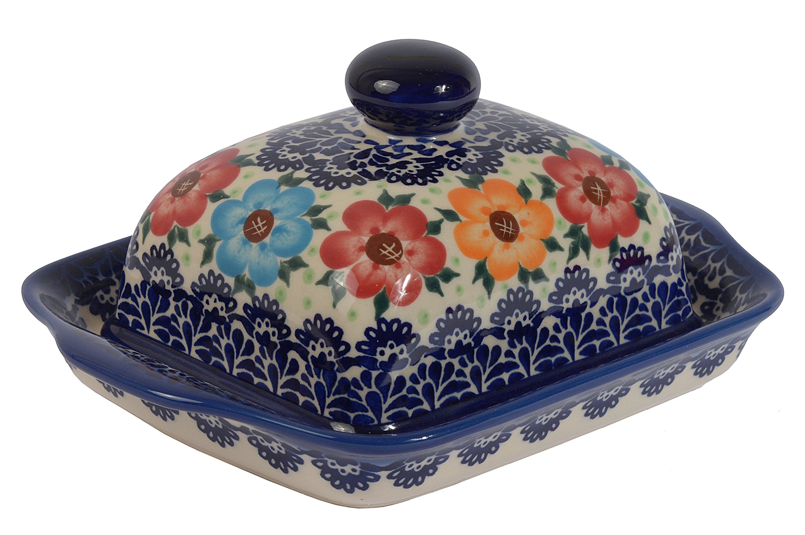 Traditional Polish Pottery, Handcrafted Ceramic Butter Dish with Lid, Boleslawiec Style Pattern, B.101.BLUELACE